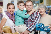Happy family after shopping — Stock Photo