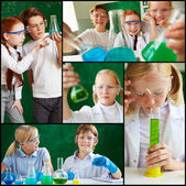 Children at chemistry lesson — Foto Stock
