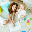 Babysitter with kids — Stock Photo