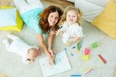 Babysitter with kids — Stock Photo