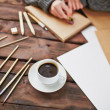Coffee and art objects — Stock Photo