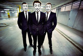 Anonymous masked businessmen — Stock Photo