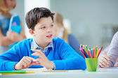 Schoolboy at lesson — Stock Photo