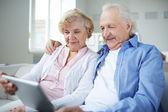 Seniors networking — Stock Photo