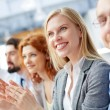 Business leader clapping at the seminar — Stock Photo