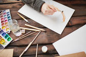 Drawing in water-colors — Stock Photo