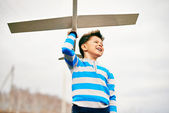 Boy with toy airplane — Stock Photo