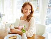 Female enjoying dessert — Stock Photo