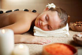 Female enjoying spa procedure — Stock Photo