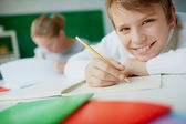 Schoolboy drawing — Stock Photo