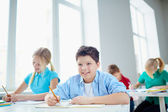Pupils drawing  at lesson — Stock Photo