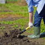 Farmer digging in the garden — Stock Photo #46338939