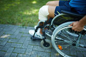 Male moving on wheelchair — Stock Photo