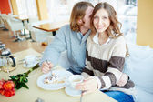 Couple in cafe — Stock Photo