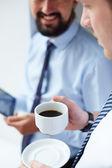 Empresário exploração cafezinho — Foto Stock