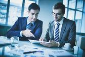 Empresários, discutindo o documento — Fotografia Stock