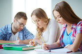 Groupmates carrying out written task — Stockfoto