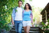 Couple visiting ancient town — Stock Photo