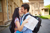 Travelers during romantic trip — Stock Photo