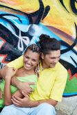 Guy embracing his girlfriend — Stock Photo