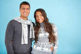 Couple in fashionable pullovers — Stock Photo