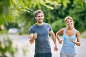 Couple running in the morning — Stock Photo
