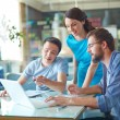 Business partners discussing data in laptop — Stock Photo #51557017