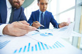 Businessman with partner at meeting — Stock Photo