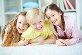 Three joyful friends — Stock Photo