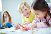 Friends  drawing at leisure — Stock Photo