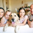 Family of four with pet — Stock Photo #51577799