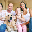 Father, mother, two daughters and dog — Stock Photo #51577813