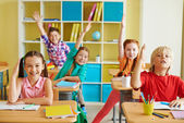 Diligent and clever classmates — Stock Photo
