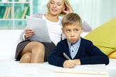 Pupil with musical notes with tutor — Stock Photo