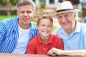 Boy with his grandfather and father — Stock Photo