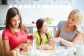 Females making dough — Stock Photo