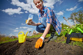 Farmer sowing seed — Stock Photo