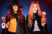 Halloween girls — Stock Photo