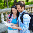 Young travelers studying map — Stockfoto