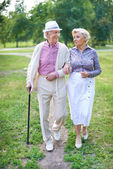 Seniors walk in the park — Stock Photo