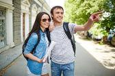 Travelers taking walk during journey — Stock Photo