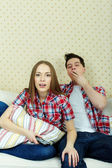 Couple during watching TV — Stock Photo
