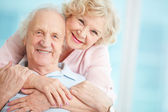 Happy and affectionate elderly couple — Stock Photo