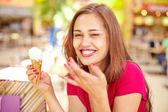 Girl with ice-cream — Stock Photo