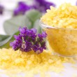 Violetes and  bath salts — Stock Photo