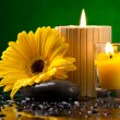 Spa still life with  flower, candles and water drop - Stock Photo
