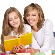 Happy family with books — Stock Photo