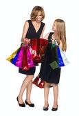 Madre e hija buscando compra — Foto de Stock