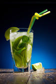 Fresh coctail with lime and mint — Stock Photo