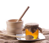 Honey in glass with drizzler — Stock Photo